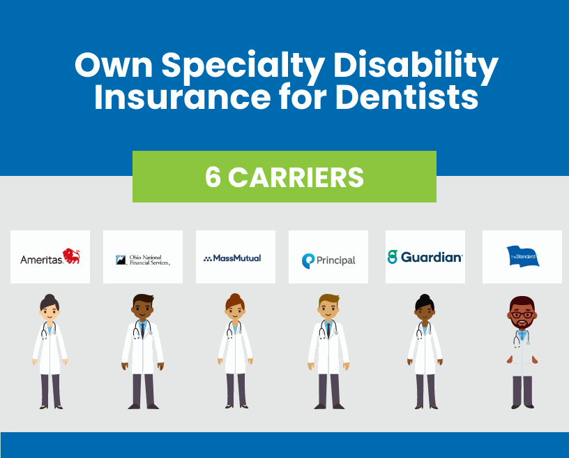 These are the 6 carriers of own specialty disability insurance for dentists